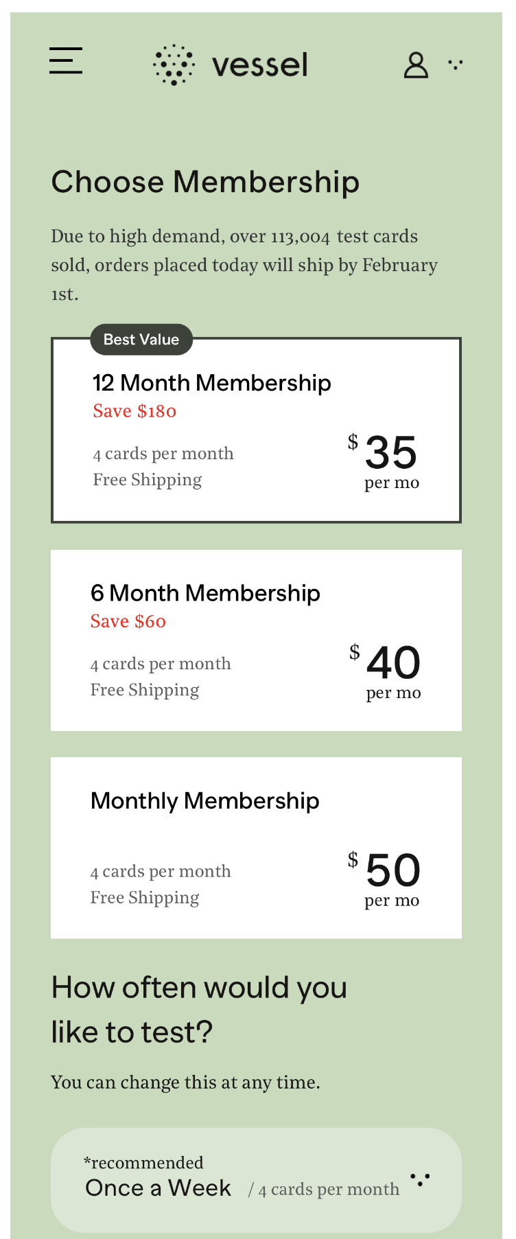 Vessel subscription costs