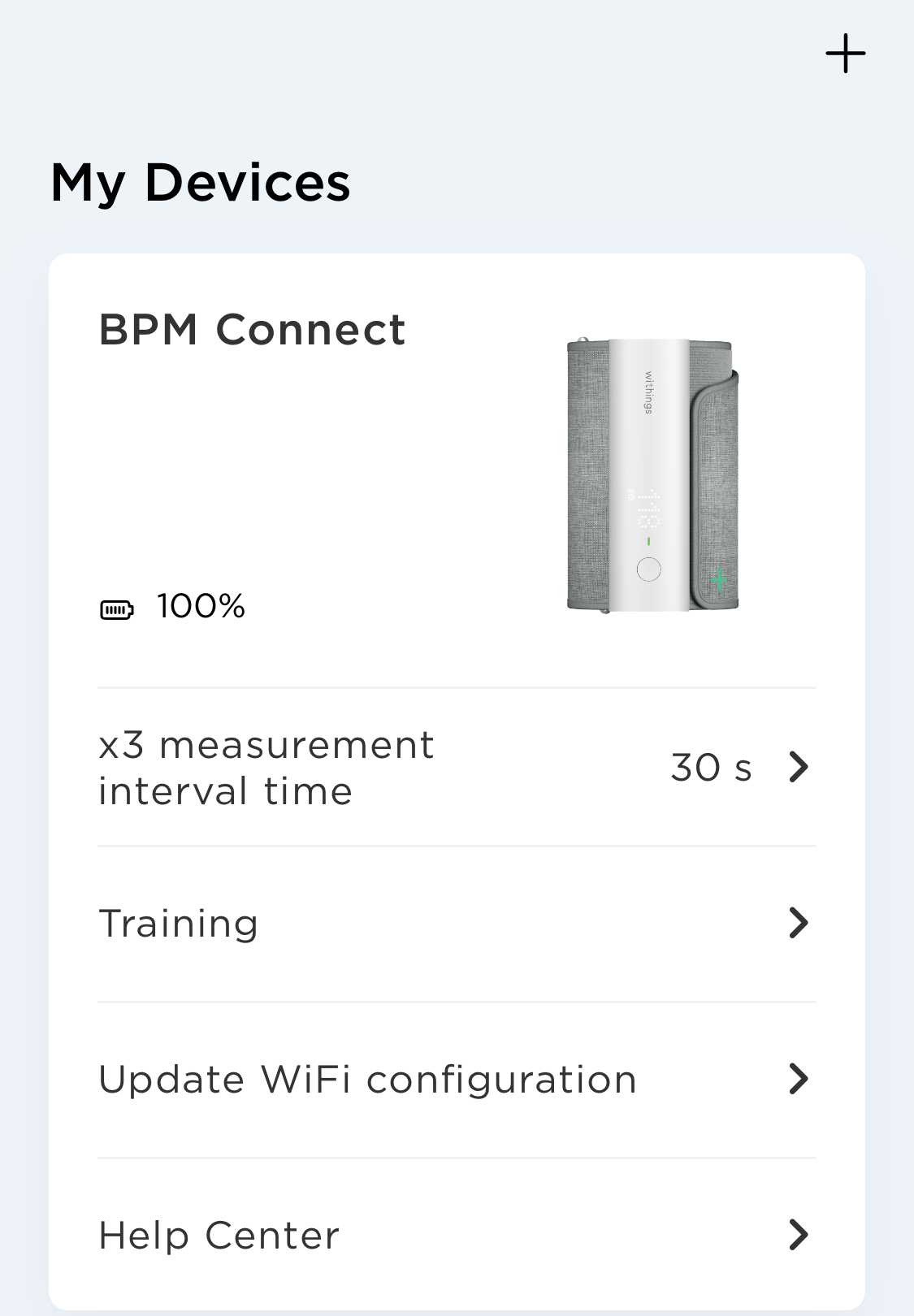Withings BPM connect device settings